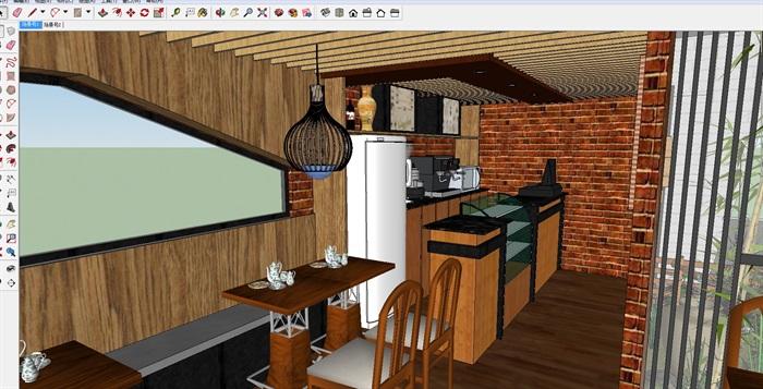 现代文艺咖啡厅室内与建筑方案SU模型(1)