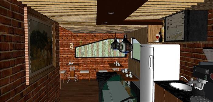 现代文艺咖啡厅室内与建筑方案SU模型(2)