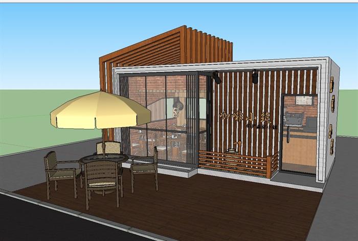 现代文艺咖啡厅室内与建筑方案SU模型(3)