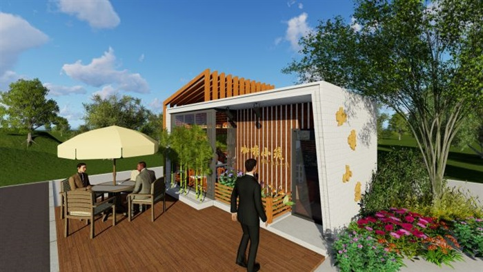 现代文艺咖啡厅室内与建筑方案SU模型(4)