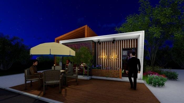 现代文艺咖啡厅室内与建筑方案SU模型(8)