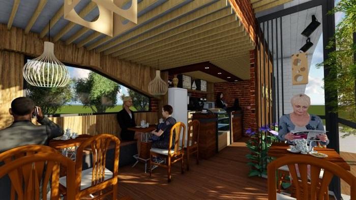 现代文艺咖啡厅室内与建筑方案SU模型(6)