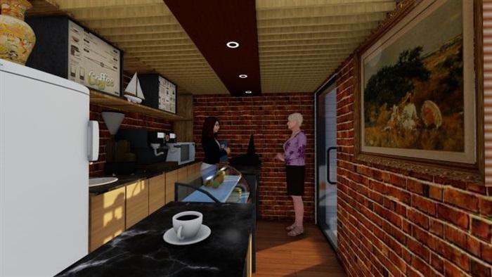 现代文艺咖啡厅室内与建筑方案SU模型(7)