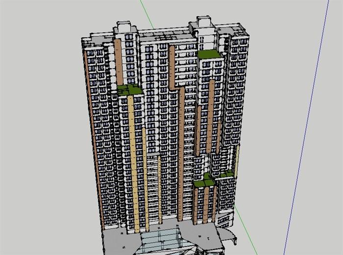 高层商业住宅建筑设计su模型含cad图及ps图[原创]