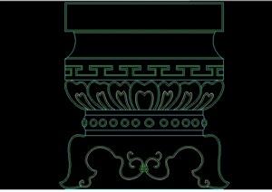 中式柱装饰cad图块
