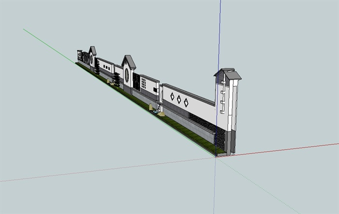 中式景观围墙设计su模型[原创]
