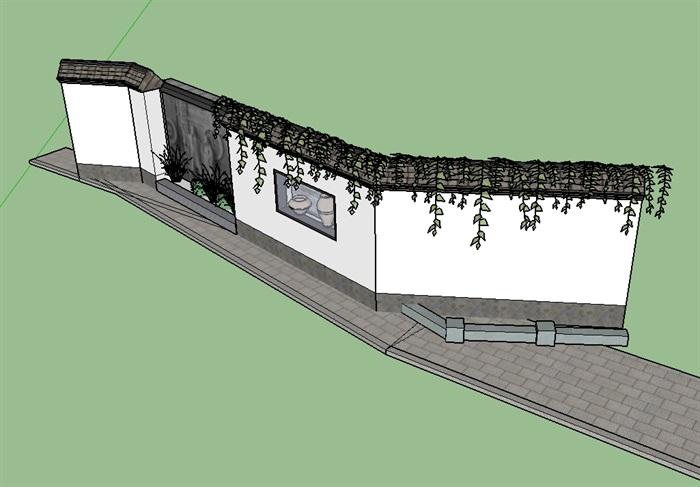 中式详细完整的文化景墙设计su模型[原创]