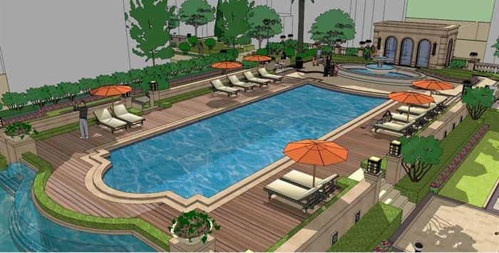 欧式中庭景观游泳池su模型[原创]