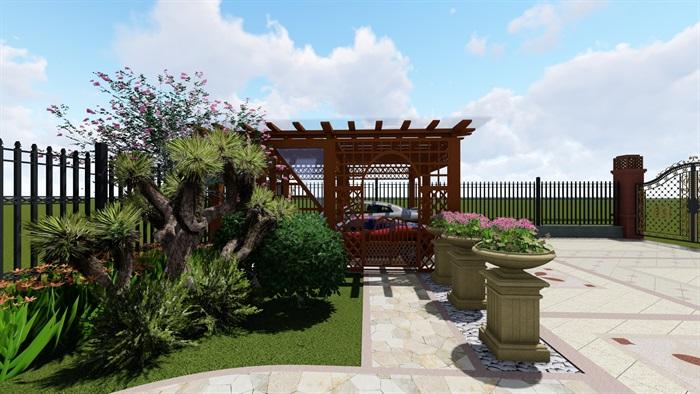 某欧式别墅别墅花园景观su模型,此次庭院设计考虑到停车、观景、休憩、玩赏、种植等功能,满足了大人以及小孩的各项需求,力图在院子里找到家的归属感和幸福感。