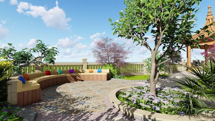 现代花园庭院详细设计su模型