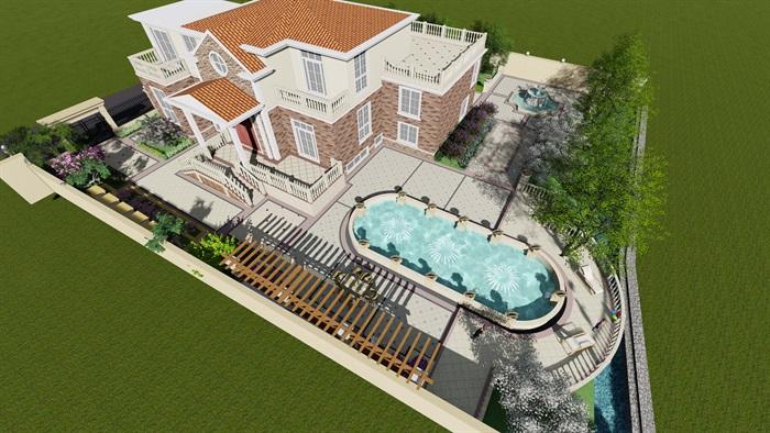 欧式详细的别墅建筑及庭院设计su模型[原创]
