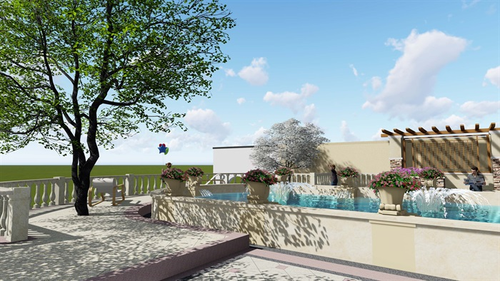 欧式详细的别墅建筑及庭院设计su模型