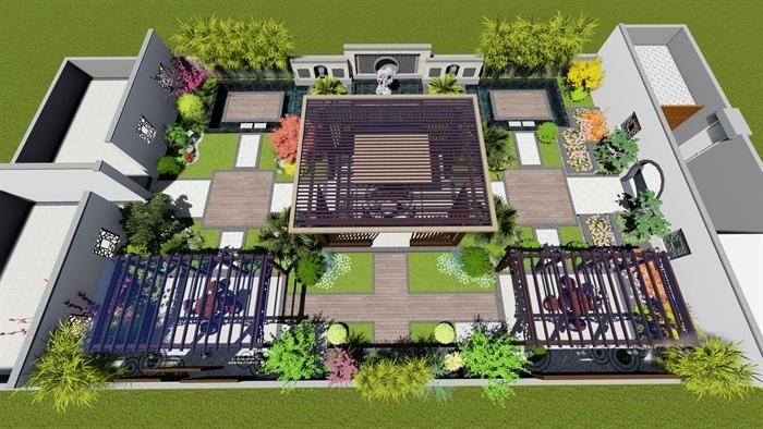 某现代中式详细的屋顶庭院景观设计su模型[原创]