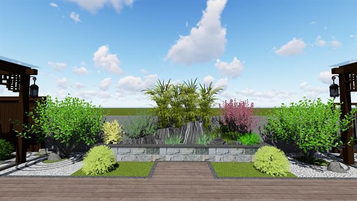 某现代中式详细的屋顶庭院景观设计su模型