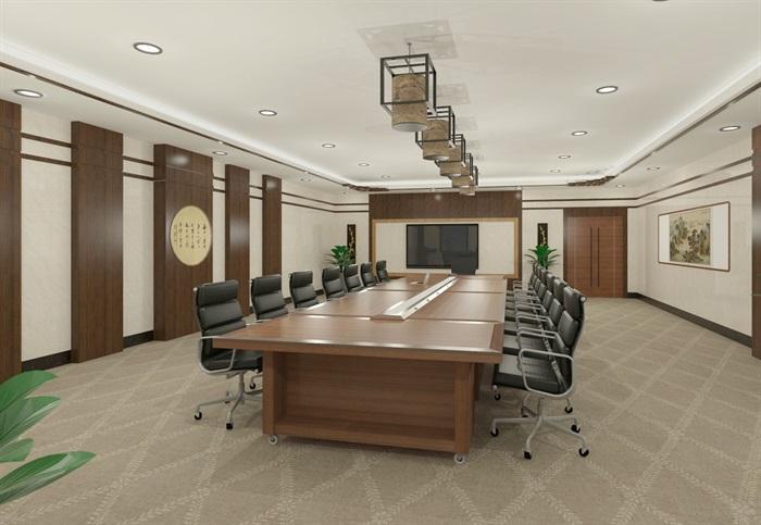 现代详细小会议室空间设计su模型