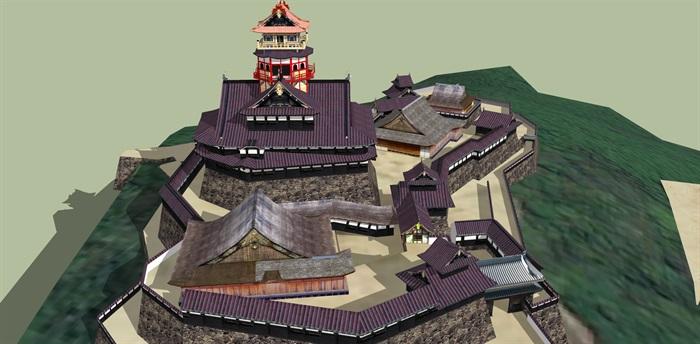 日本古建旅游建筑su模型