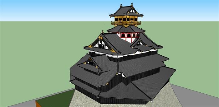 日本古建寺庙设计su模型
