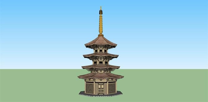 日本古建塔楼设计su模型