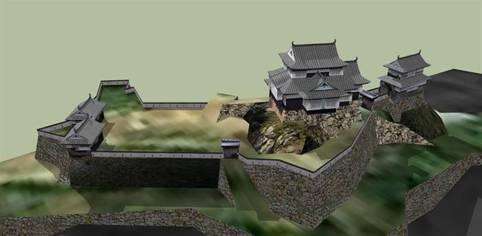 日本旅游寺庙古建su模型