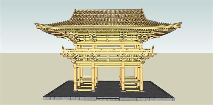 木制日本古建设计su模型