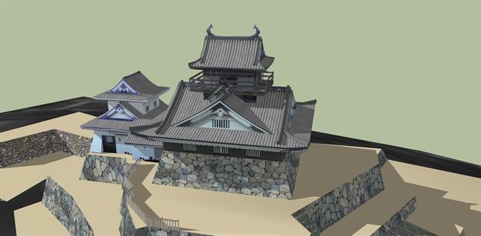 日本古建寺庙庙宇建筑su模型