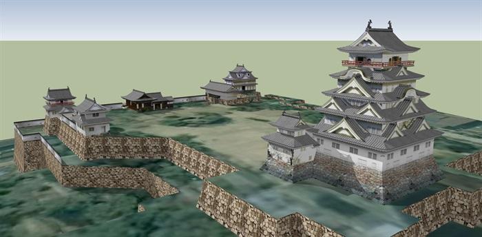 日本详细古建寺庙设计su模型