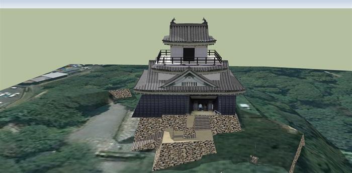 日本古建寺庙建筑设计su模型