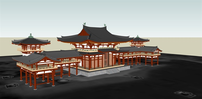 日式风格古建筑su模型
