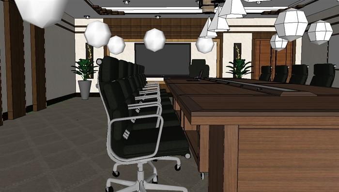 现代详细小会议室空间设计su模型(3)