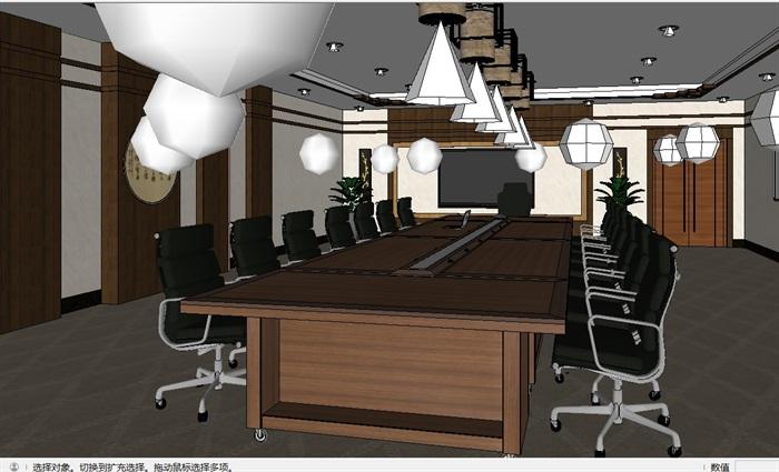 现代详细小会议室空间设计su模型(4)