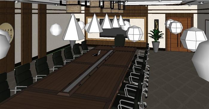 现代详细小会议室空间设计su模型(5)