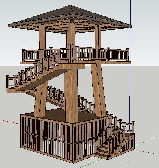 中式风格观鸟塔观景塔设计su模型[原创]