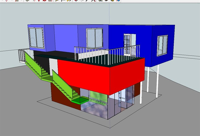 三层建筑师工作室建筑设计方案(含CAD图SU模型及PSD排版图)-约200平(6)