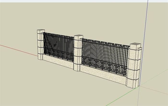 现代铁艺栏杆围墙素材设计su模型[原创]图片