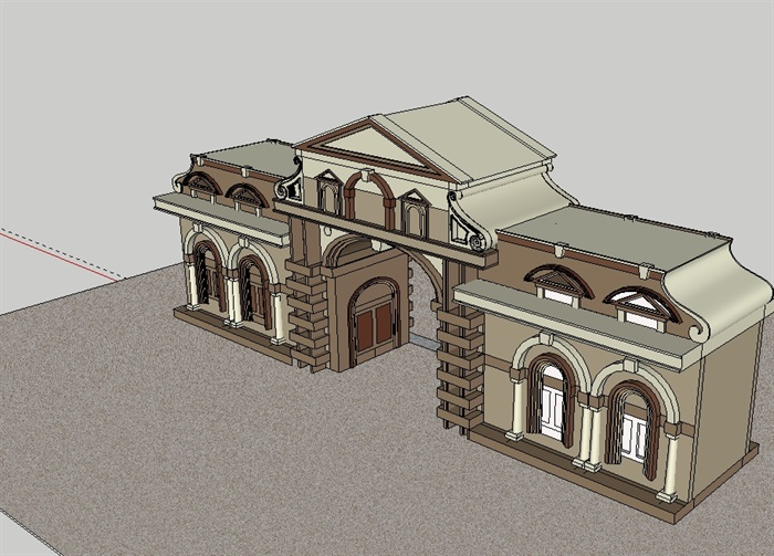 欧式门建筑设计su模型[原创]
