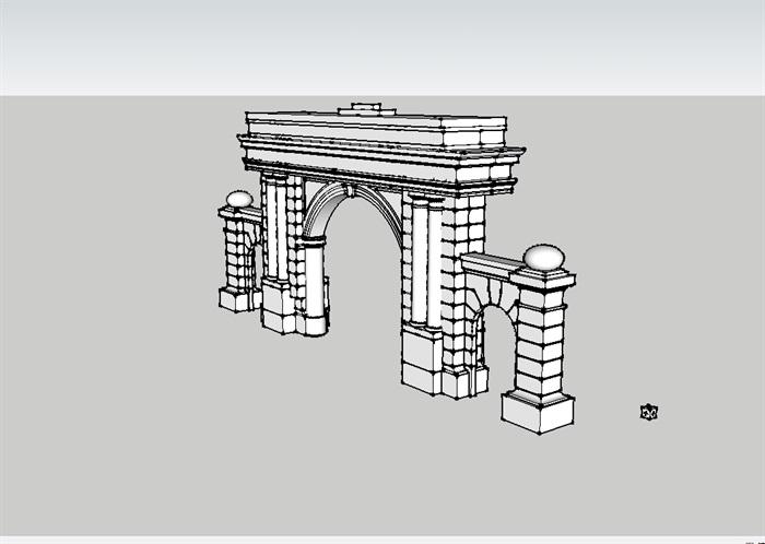 欧式大门简单设计su模型[原创]