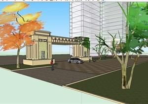 住宅小区大门设计SU(草图大师)模型