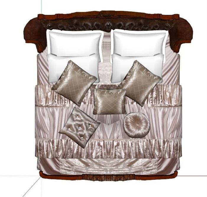 某欧式详细的卧室床设计su模型
