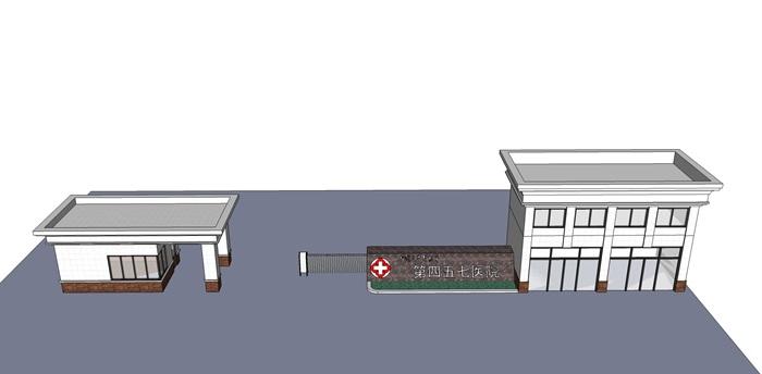 两款现代简约医院大门设计su模型