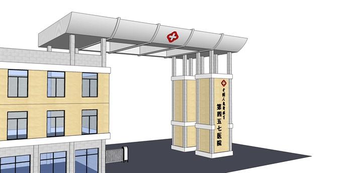 现代风格医院大门设计su模型