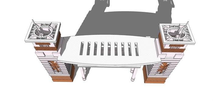 现代风格小区大门素材设计su模型