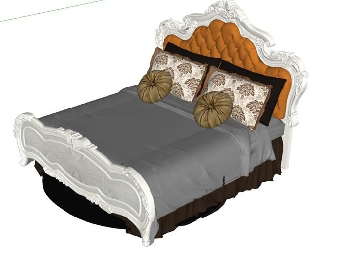 欧式精美双人床设计su模型