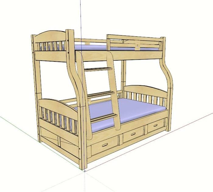 简约木制儿童高低床设计su模型