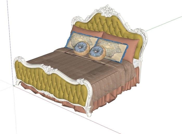 精细欧式风格双人床设计su模型[原创]