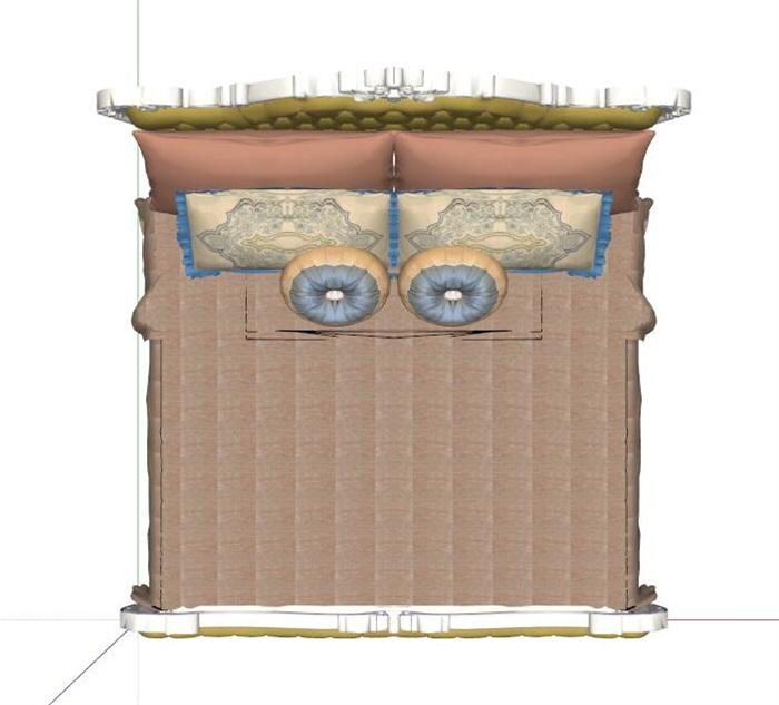 精细欧式风格双人床设计su模型