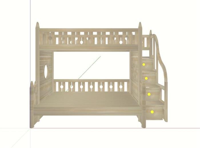 木制儿童床高低床设计su模型