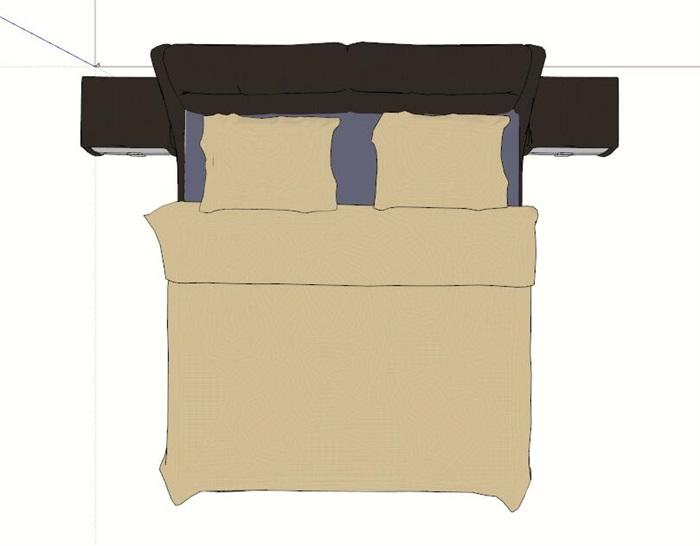 现代双人床带床头柜su模型