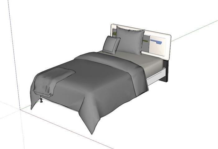 简约灰色单人床设计su模型