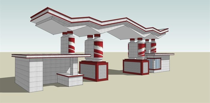 现代折线小区大门设计su模型