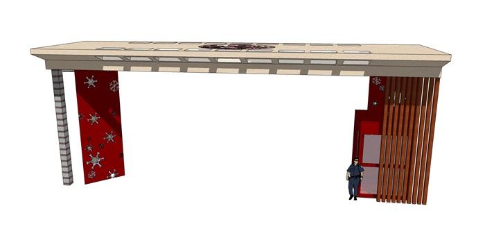 现代平顶小区大门设计su模型